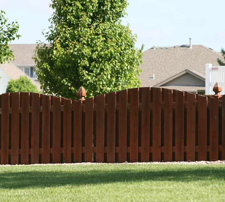 The American Fence Company - Wood Fencing, 1002 4' overscallop picket stained