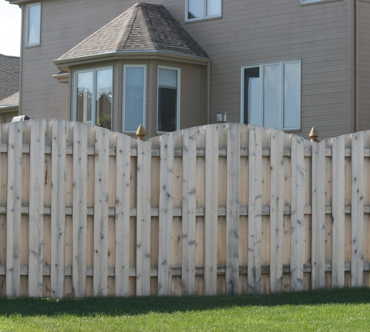 The American Fence Company - Wood Fencing, 1012 6' overscallop board on board no stained