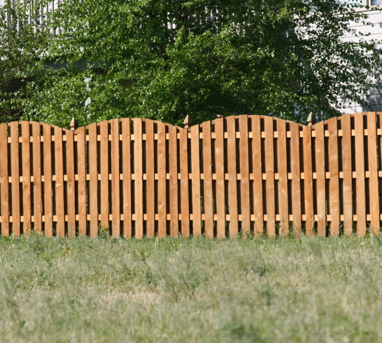 The American Fence Company - Wood Fencing, 1013 6' overscallop board on board stained