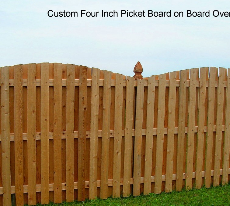 The American Fence Company - Wood Fencing, 1048 1x4x4 Board on Board overscallop