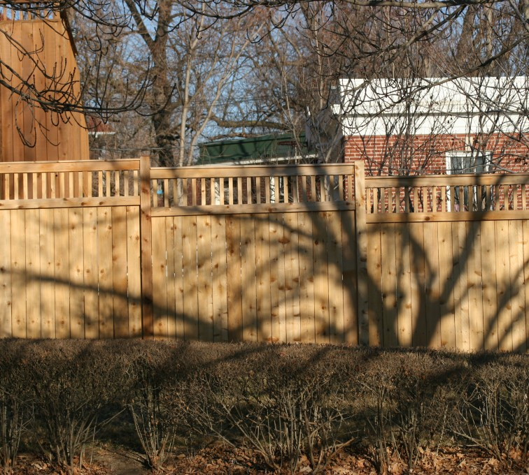 The American Fence Company - Wood Fencing, 1053 Custom Solid with Accent Top