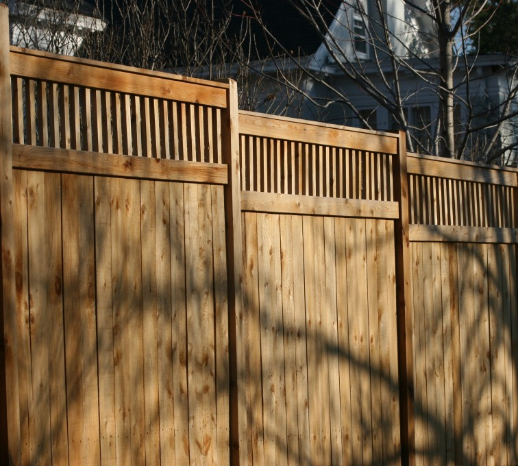 The American Fence Company - Wood Fencing, 1054 Custom Solid with Accent Top