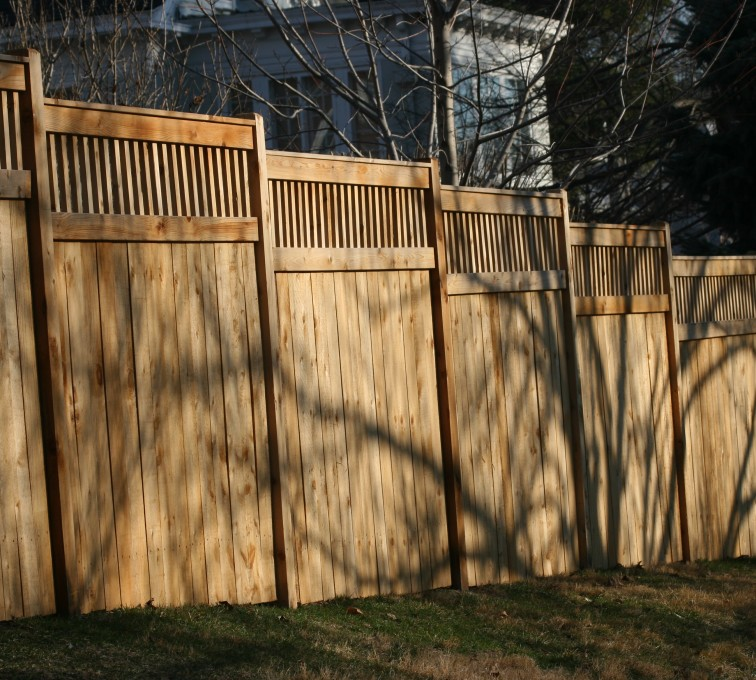 The American Fence Company - Wood Fencing, 1055 Custom Solid with Accent Top
