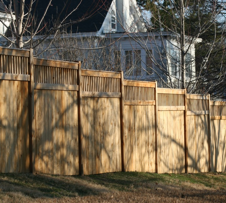 The American Fence Company - Wood Fencing, 1057 Custom Solid with Accent Top
