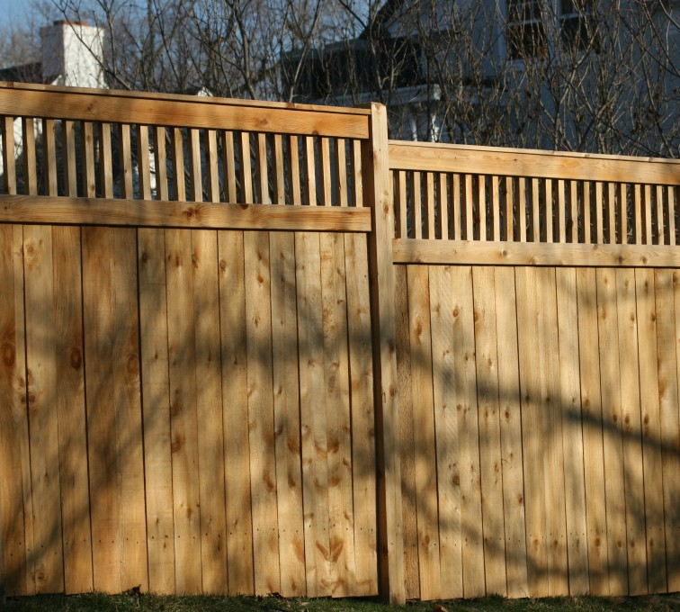 The American Fence Company - Wood Fencing, 1058 Custom Solid with Accent Top