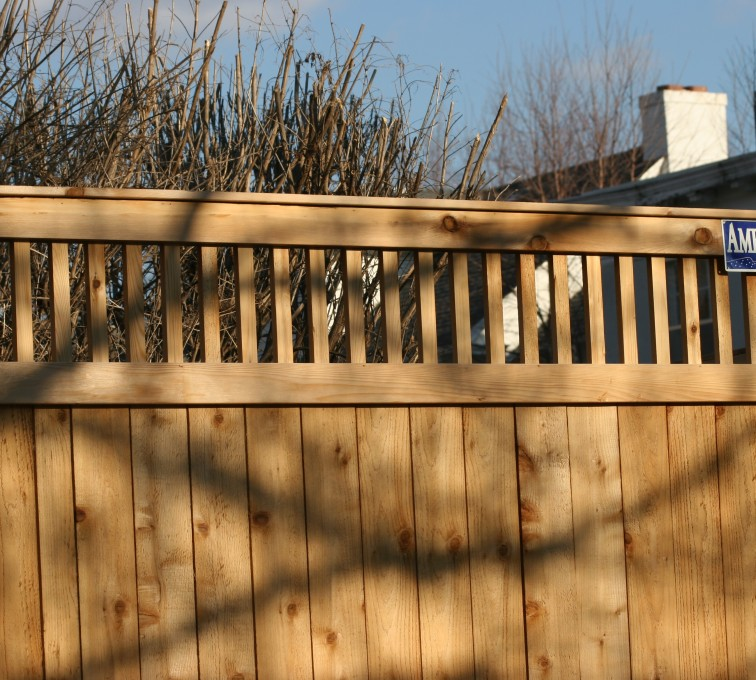 The American Fence Company - Wood Fencing, 1059 Custom Solid with Accent Top
