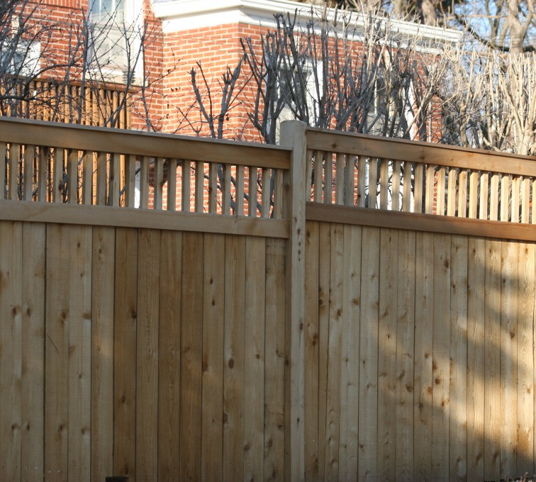 The American Fence Company - Wood Fencing, 1060 Custom Solid with Accent Top
