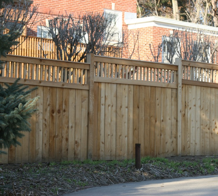 The American Fence Company - Wood Fencing, 1062 Custom Solid with Accent Top