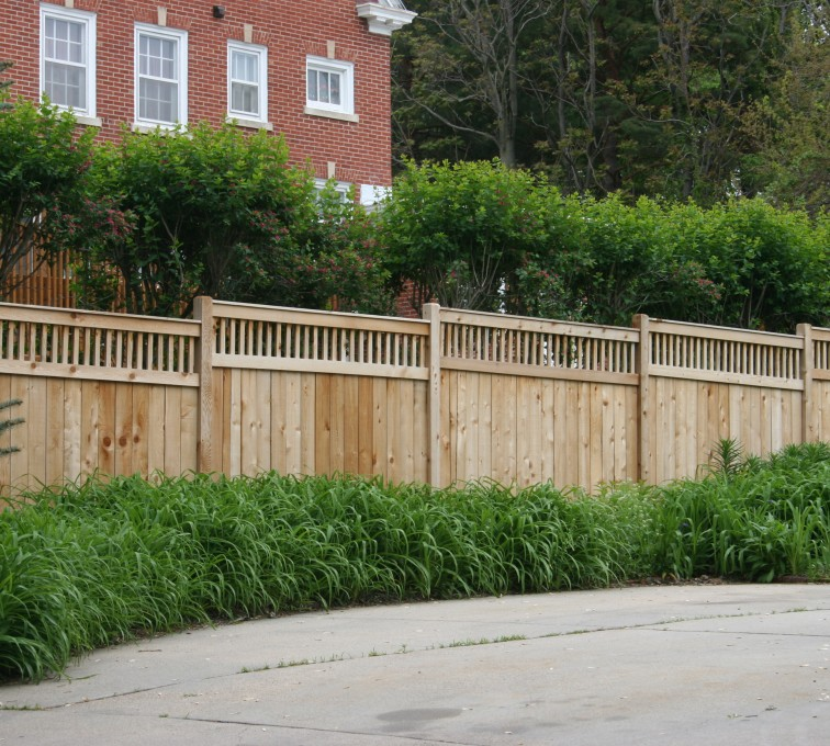 The American Fence Company - Wood Fencing, 1063 Custom Solid with Accent Top