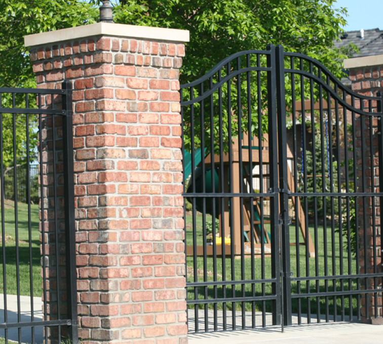 The American Fence Company - Custom Gates, 1064 6' flat top 3 rail over arch gate