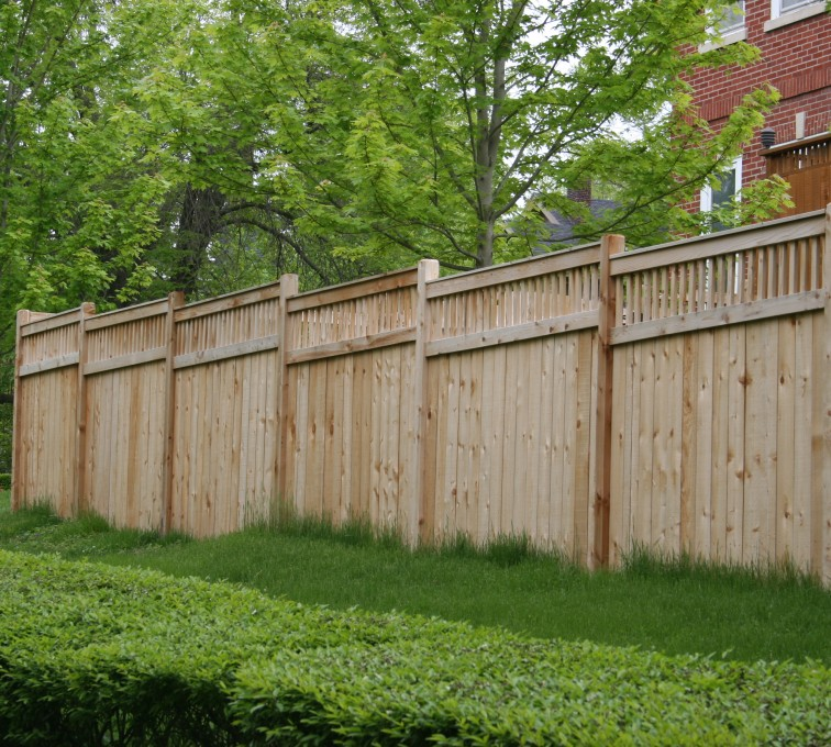 The American Fence Company - Wood Fencing, 1064 Custom Solid with Accent Top