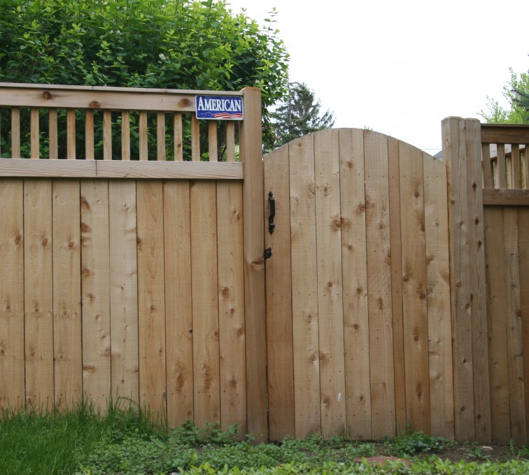 The American Fence Company - Wood Fencing, 1065 Custom Solid with Accent Top Gate