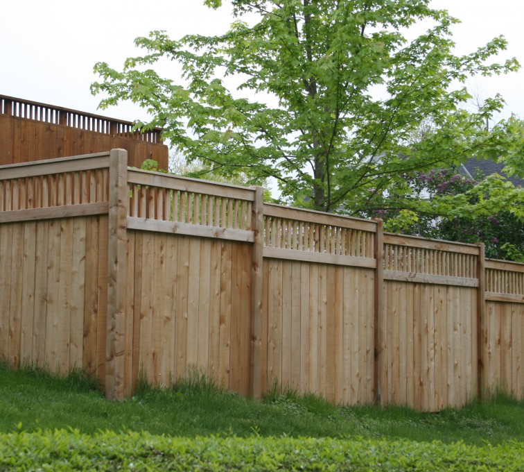 The American Fence Company - Wood Fencing, 1067 Custom Solid with Accent Top