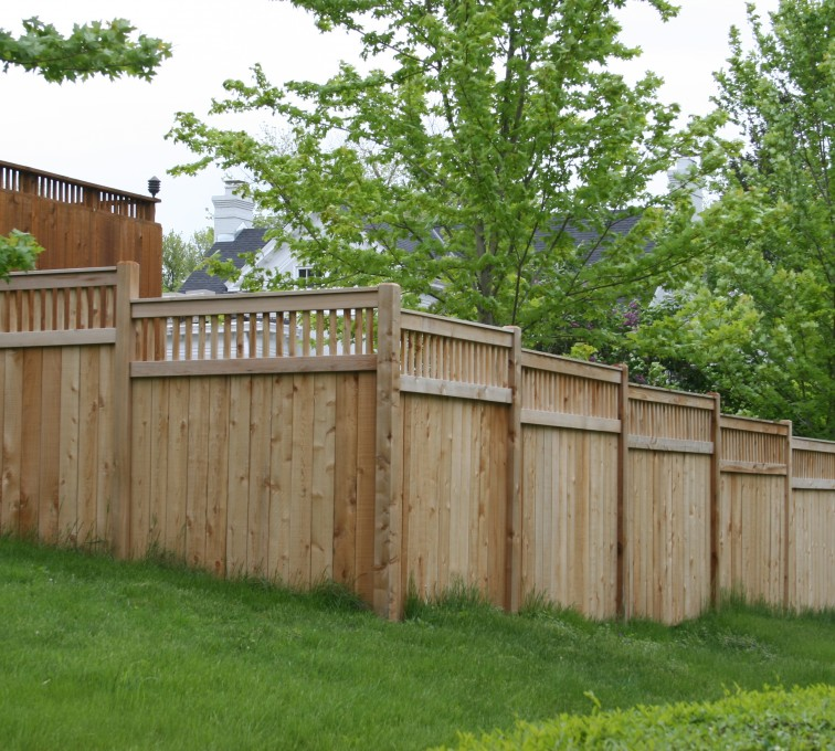 The American Fence Company - Wood Fencing, 1068 Custom Solid with Accent Top