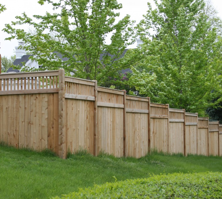The American Fence Company - Wood Fencing, 1069 Custom Solid with Accent Top