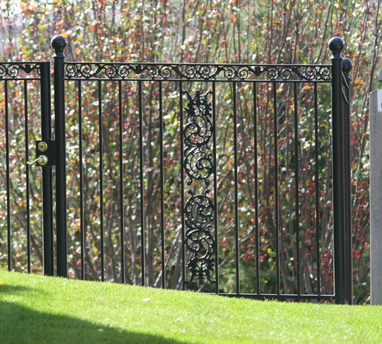 The American Fence Company - Custom Iron Gate Fencing, 1209 Ornamental Iron gate with Scroll