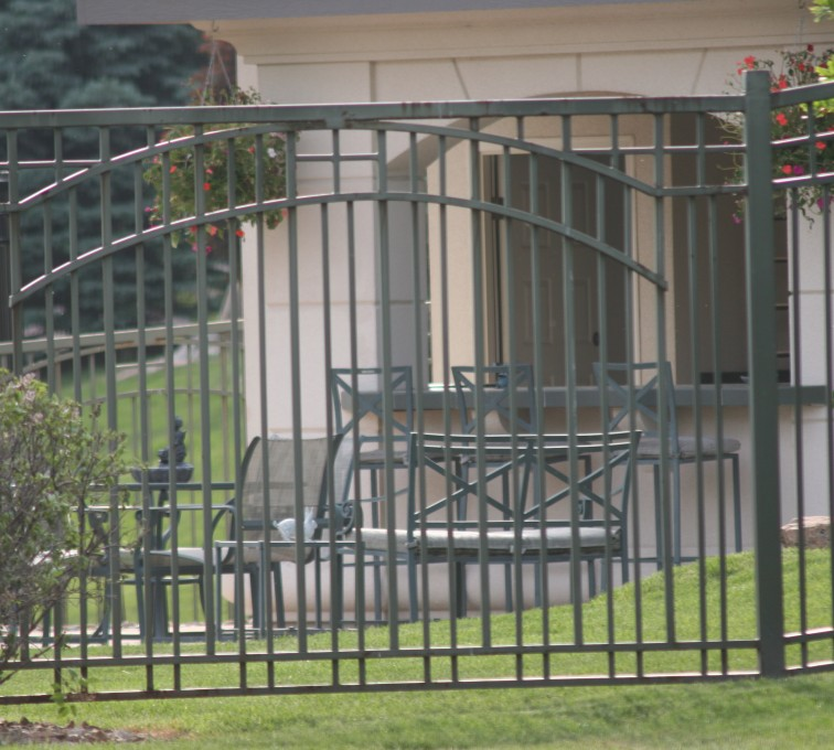 The American Fence Company - Custom Iron Gate Fencing, 1210 Over arch in panel