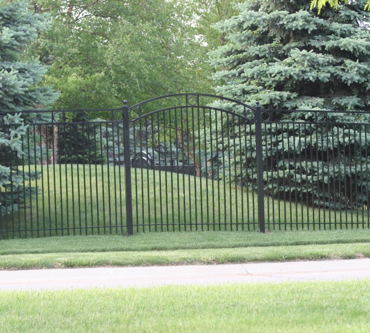 The American Fence Company - Custom Iron Gate Fencing, 1211 over arch panel with rings