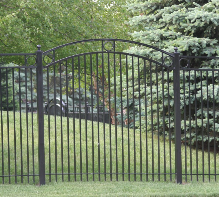 The American Fence Company - Custom Iron Gate Fencing, 1212 Over arch panel with rings