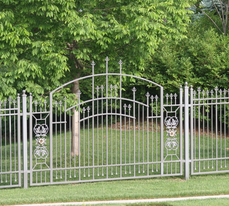 The American Fence Company - Custom Iron Gate Fencing, 1214 Over arch panel with scroll work