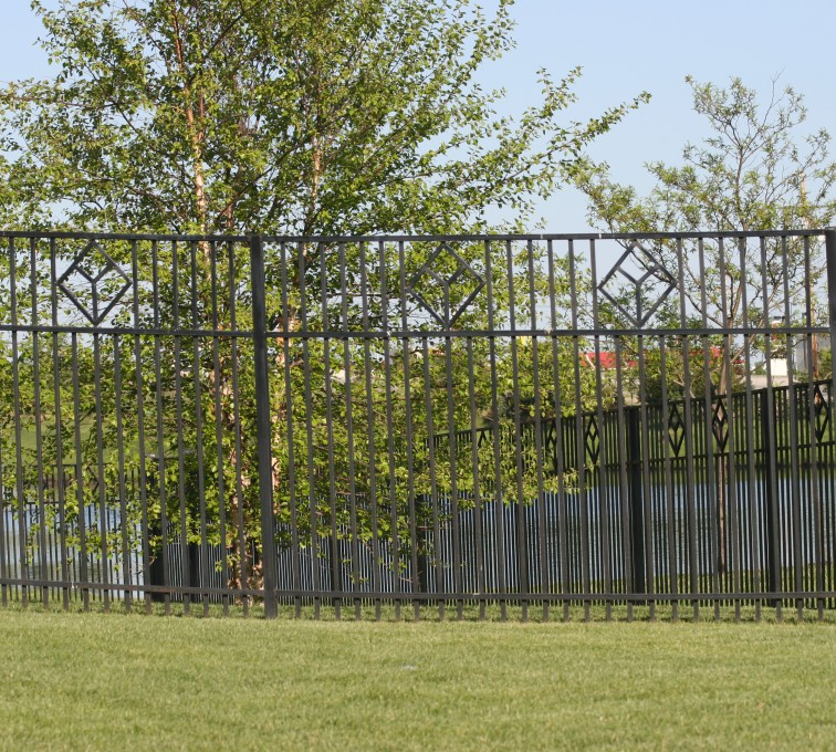 The American Fence Company - Custom Iron Gate Fencing, 1217 Picket with diamond accent