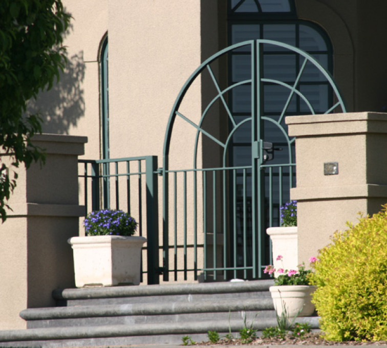 The American Fence Company - Custom Gates, 1300 Court yard gate with sun burst