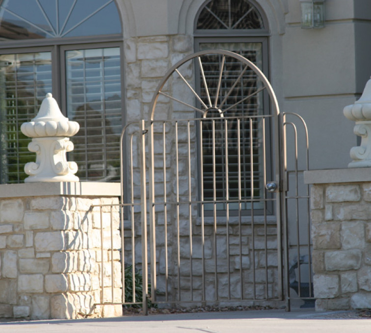 The American Fence Company - Custom Gates, 1301 Court yard gate with sun burst and finials