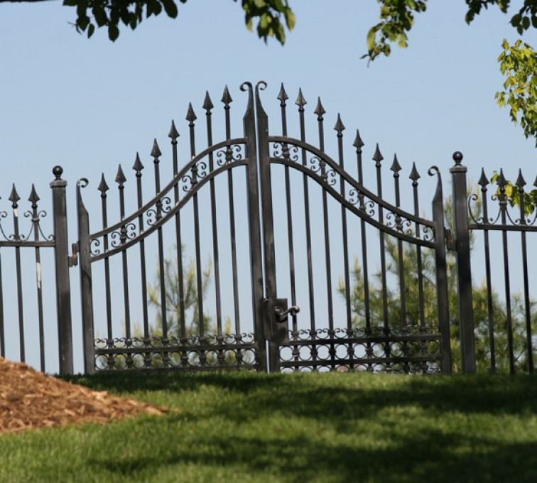 The American Fence Company - Custom Gates, 1311 Over Arch gate with triads
