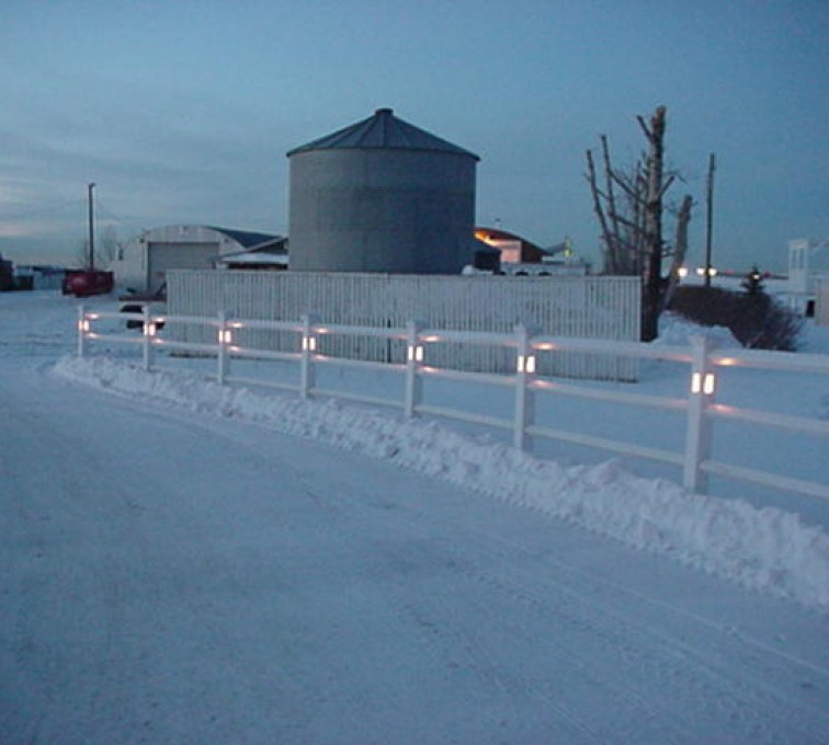 The American Fence Company - Vinyl Fencing, 2 Ranch Rail with lighted posts (950)