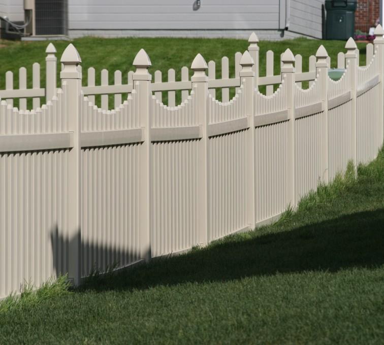 The American Fence Company - Vinyl Fencing, 4' Picket Underscallop Tan 552