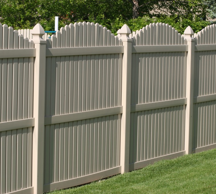 The American Fence Company - Vinyl Fencing, 6' overscallop picket tan 555