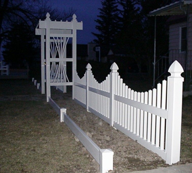The American Fence Company - Vinyl Fencing, 566 Underscallop with Arbor 2