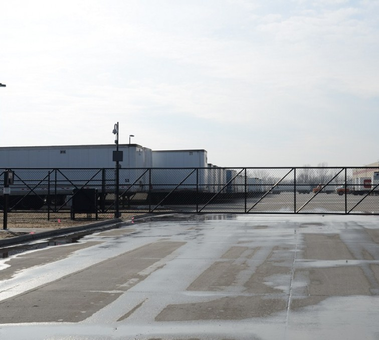 The American Fence Company - Custom Gates, 6' Black Vinyl Chain Link 35' Opening Cantaliever Gate with Operator - AFC - IA