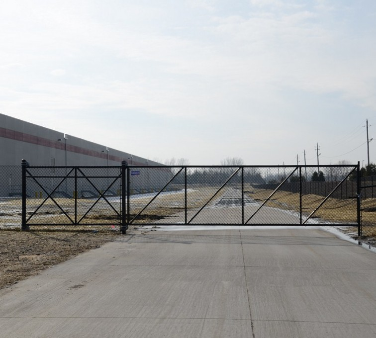 The American Fence Company - Custom Gates, 6' Black Vinyl Chain Link Cantaliever Gate - AFC - IA