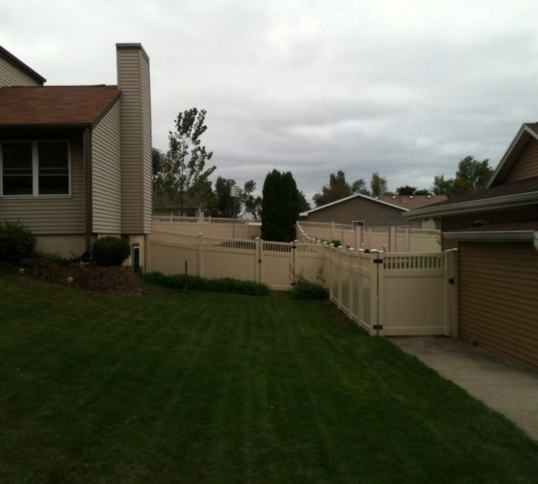 The American Fence Company - Vinyl Fencing, 6' Tan Solid PVC with Accent - AFC - IA