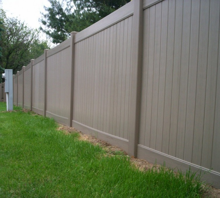 The American Fence Company - Vinyl Fencing, 6' Woodland Select Weathered Cedar Solid Privacy - AFC - IA