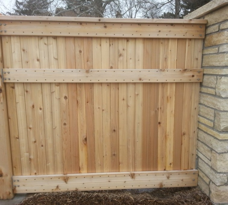 The American Fence Company - Wood Fencing, 6' Custom Wood with Stone Columns - AFC - IA