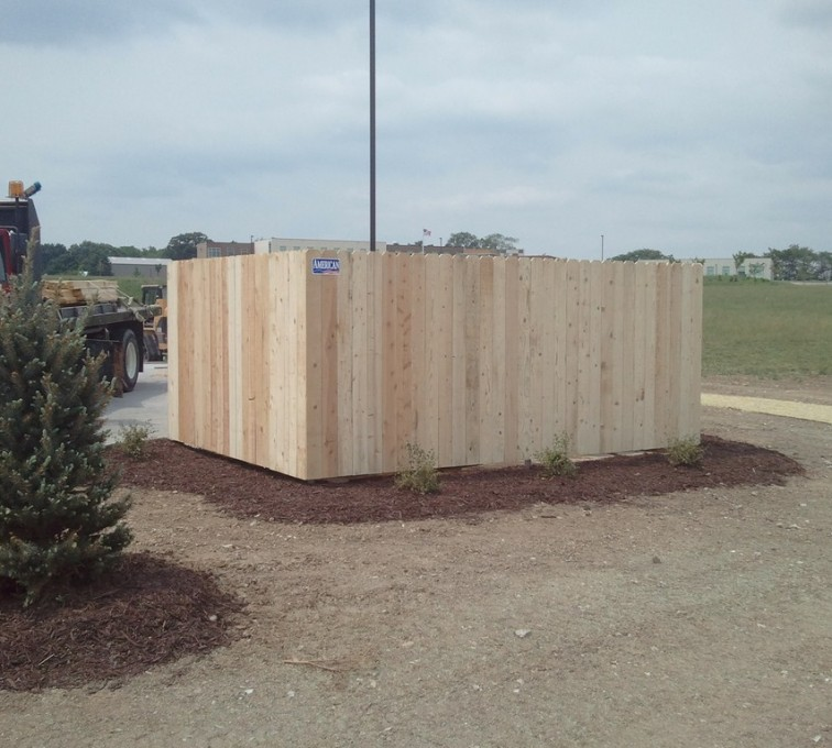The American Fence Company - Wood Fencing, 6' Solid Dumpster Enclosure - AFC - IA