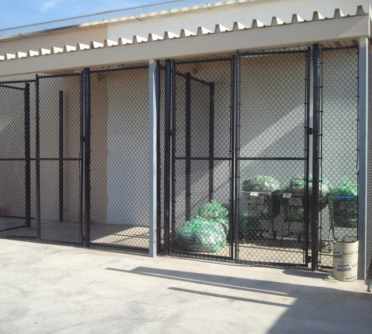 The American Fence Company - Chain Link Fencing, 8' Chain Link Recycling Enclosure - AFC - IA