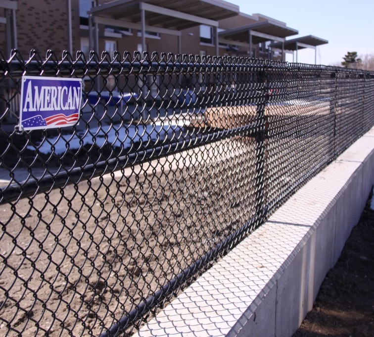 The American Fence Company - Chain Link Fencing, Black Vinyl Chain Link 4' Tall