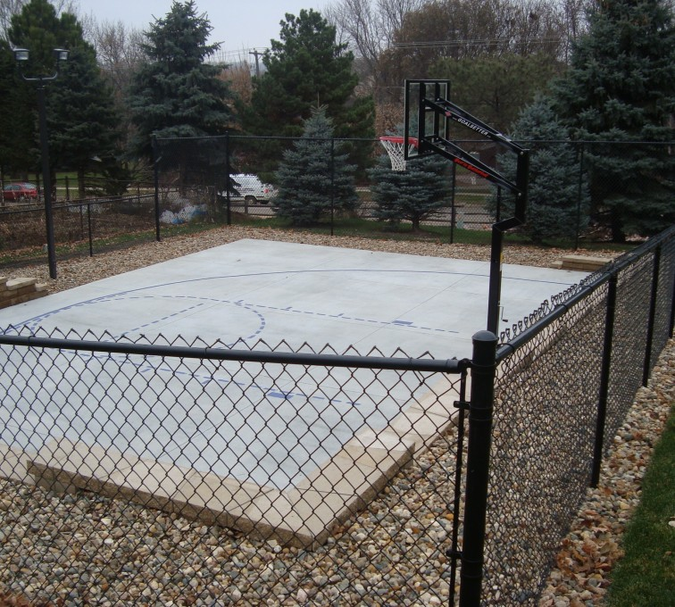 The American Fence Company - Sports Fencing, Black Vinyl Chain Link Sport Court AFC, SD