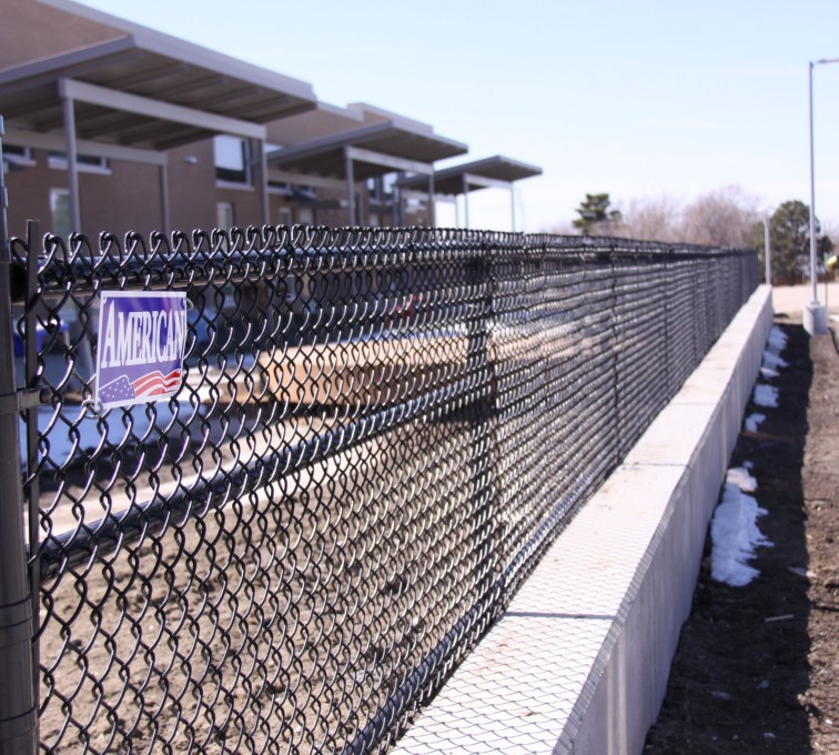 The American Fence Company - Chain Link Fencing, Black Vinyl Chain Link Track Fence