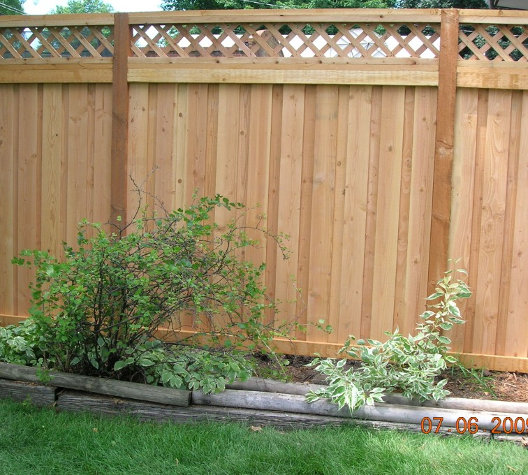 The American Fence Company - Wood Fencing, Custom with Lattice-A