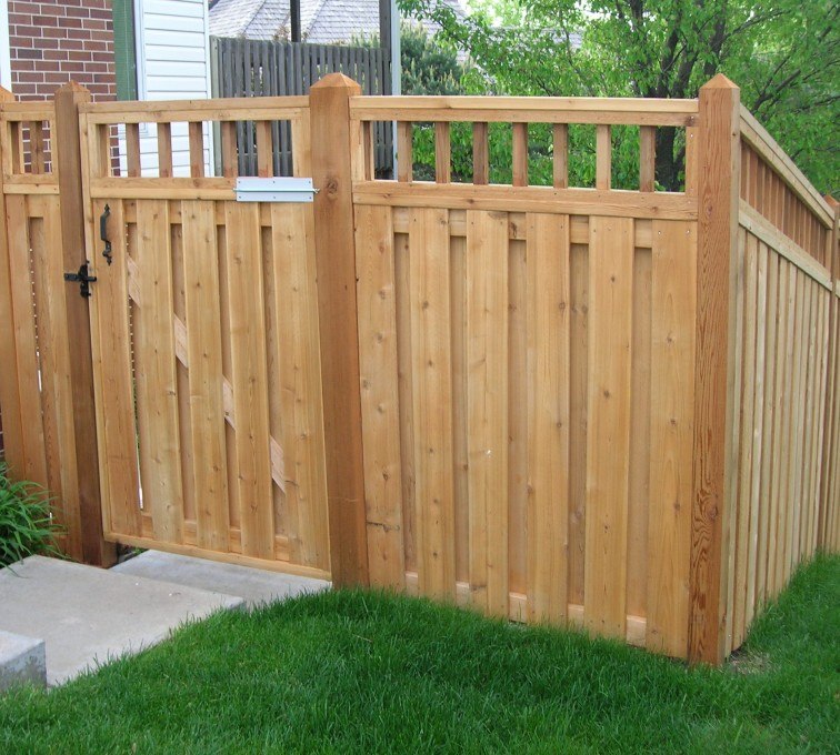 The American Fence Company - Wood Fencing, Custom with wood picket accent