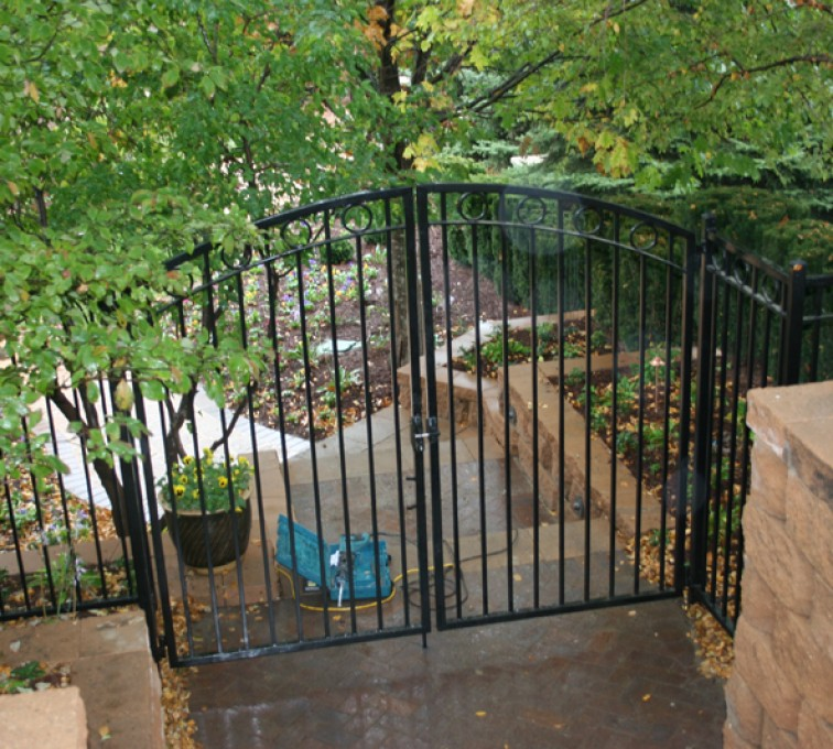 The American Fence Company - Custom Gates, Double Drive Over Arch Walk Gate