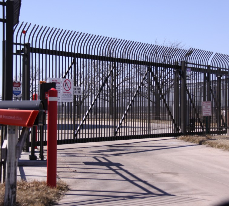 The American Fence Company - Custom Gates, Ornamental Slide Gate with Radius Picket Accent