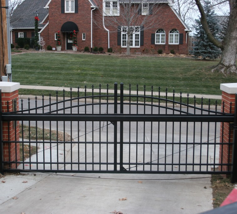 The American Fence Company - Custom Gates, Over Arch Cantilever Slide Gate Residential