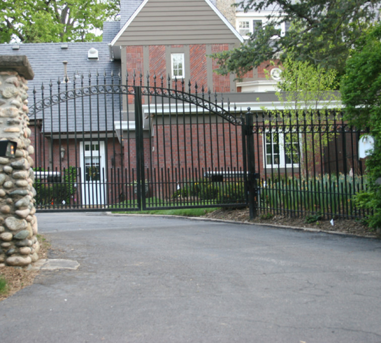The American Fence Company - Custom Gates, Over Arch Drive Gate with Columns