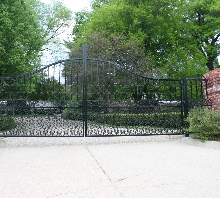 The American Fence Company - Custom Gates, Over Arch Estate Double Drive Gate With Scroll Accent