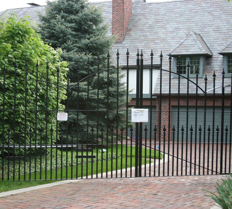 The American Fence Company - Custom Gates, Over Arch Estate Gate With Puppy Accent